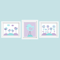 aqua and purple bird and flower nursery art prints