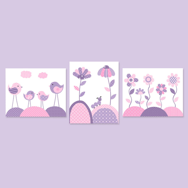 Set of three pink and purple bird and flower nursery pictures