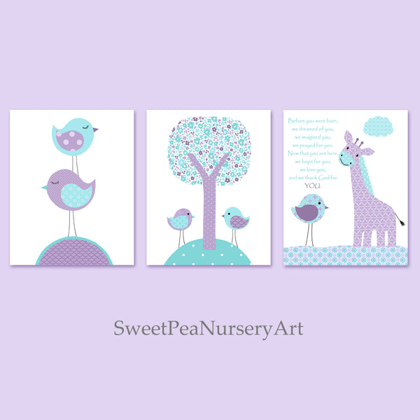 Baby girl set of three prints in aqua and purple