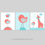 Baby girl bird nursery prints