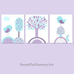 Bird nursery prints with aqua and purple birds.