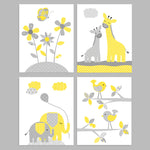 gray and yellow animal nursery decor