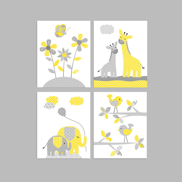 gray and yellow nursery art prints
