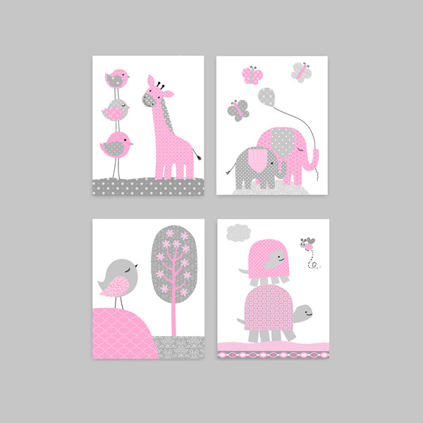 pink and grey nursery art