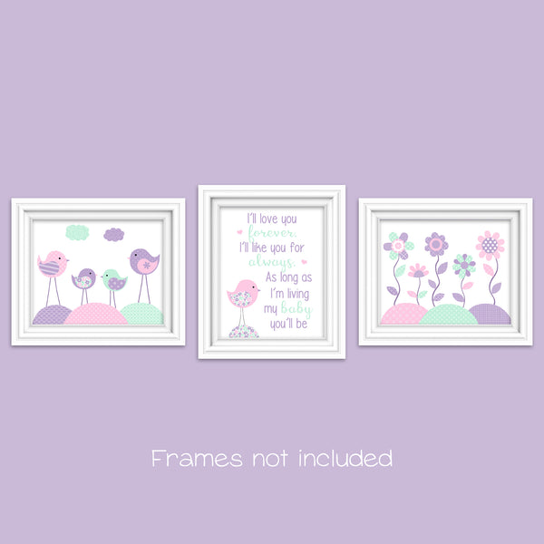 Baby girl birds and flowers wall art
