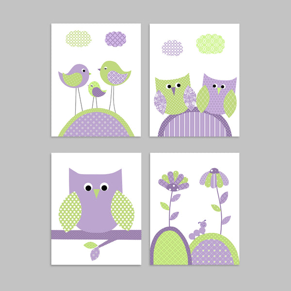 green and purple nursery art