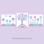 Baby decor with birds and flowers in aqua and purple