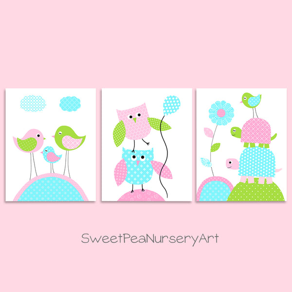 sweet pea nursery art birds, owls, and turtles nursery prints