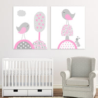 pink and grey bird nursery canvas art