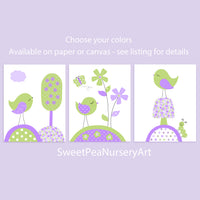 set of three green and purple bird nursery art prints