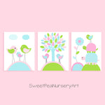 Aqua, green and pink bird nursery decor