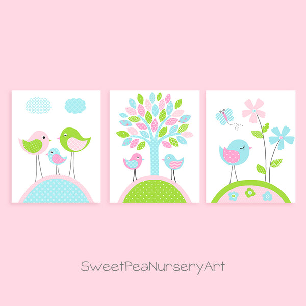 set of three bird nursery prints for a baby girl