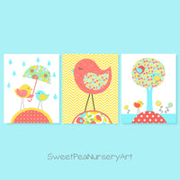 Baby girl bird nursery wall art