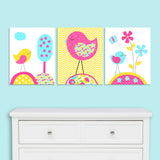 Set of three aqua, fuchsia and yellow bird nursery prints