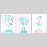 Aqua and pink set of bird nursery prints