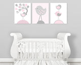set of three digital files to print at home bird nursery art prints in baby pink and grey