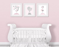 set of three bird nursery prints in pink and grey