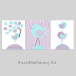 Aqua and purple baby girl bird wall art