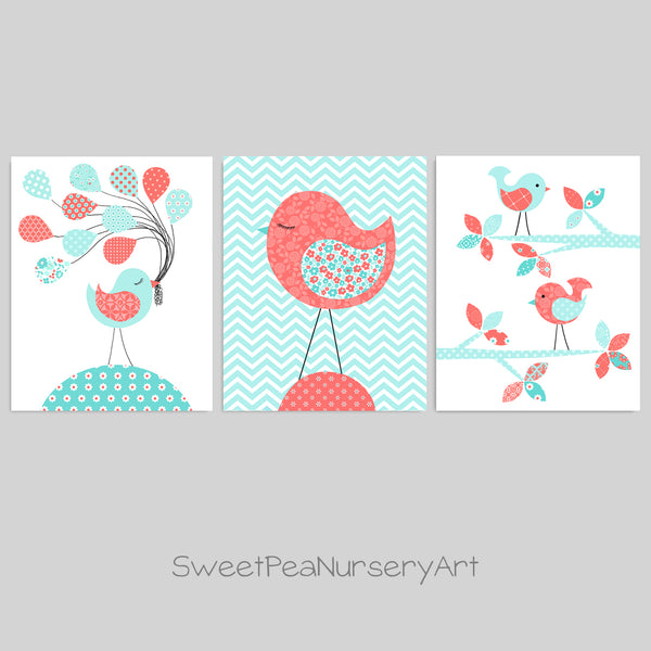 aqua and coral bird nursery decor