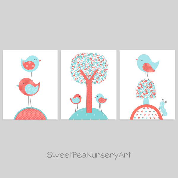 set of three bird art prints