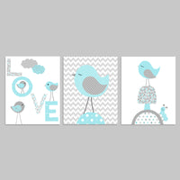 Set of three aqua and grey bird nursery prints