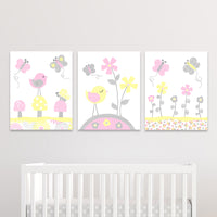 set of three yellow and pink bird nursery prints