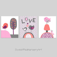 set of three bird prints in coral, pink and grey