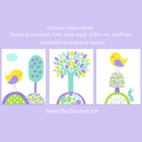 purple mint and yellow bird nursery prints