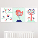 Bird nursery pictures in coral, mint and navy.