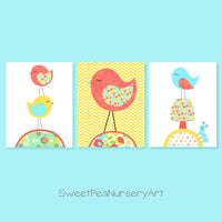 yellow and coral nursery art