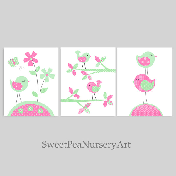 pink and mint prints for a baby girl bird nursery