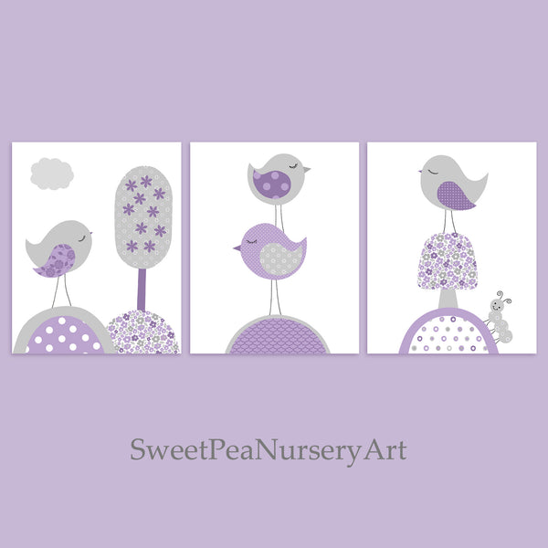 Grey and purple baby girl bird nursery prints