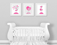 Printable Baby Girl Bird Nursery Wall Decor | Fuchsia and Grey | Set of Three Digital Files