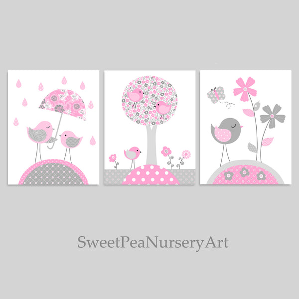 gray and pink nursery prints with birds