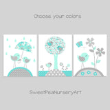 set of bird nursery prints in aqua and grey