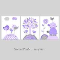 Baby girl nursery prints in grey and purple