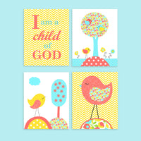 set of four aqua, coral and yellow bird prints and I am a child of God print