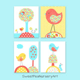 aqua, coral and yellow bird prints