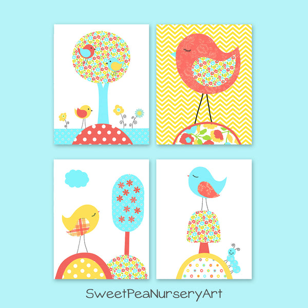 Set of four aqua, coral and yellow nursery pictures