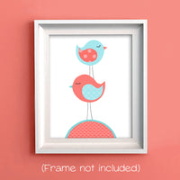 birds stacked nursery art in aqua and coral