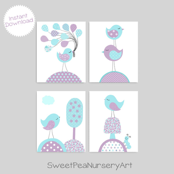 Printable Bird Nursery Decor | Instant Download | DIY | Set of 4 Files | Aqua and Purple