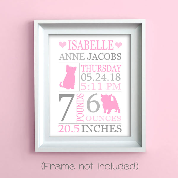 kitten birth stats print