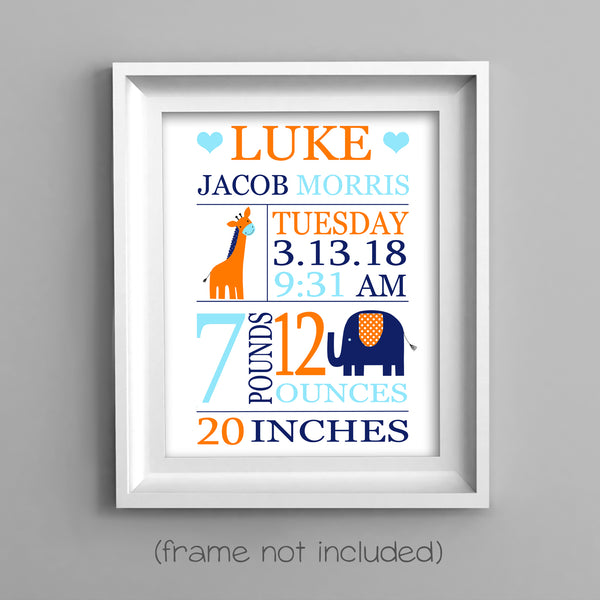 birth stats print with zoo animals