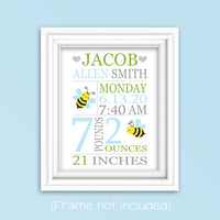 bumble bee birth stats print