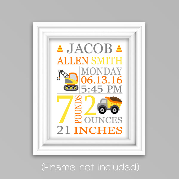 construction vehicle birth stats print, construction nursery decor