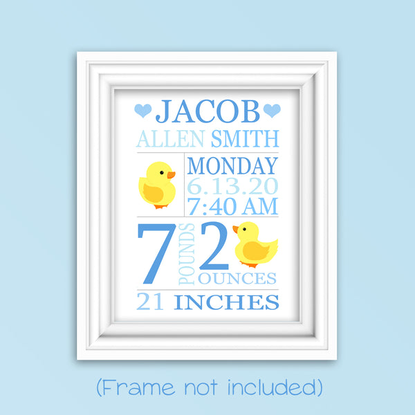 duck birth stats print, new baby gift, ducklings