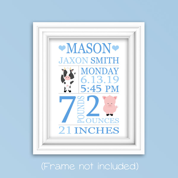 farm birth stats print, cow pig, blue