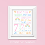 pastel rainbow birth stats print
