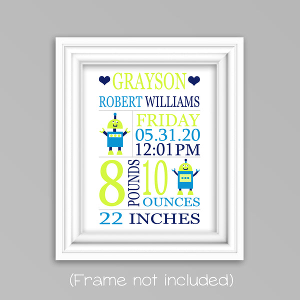 Robot birth stats print, techie new baby gift