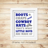 "cowboy nursery art print with saying ""Boots, chaps and cowboy hats, that's what little boy's are made of"" in navy and gray"
